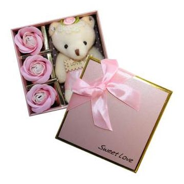 4 sets of gift simulation roses flower soap Valentine's Day gift with a lovely bear 3 heads soap  flower wedding box gift