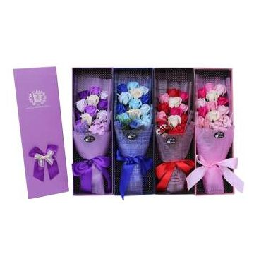 Hand holding simulation flowers roses soap