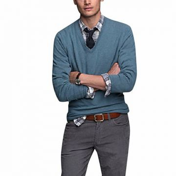 Blue Wool Sweater For Men