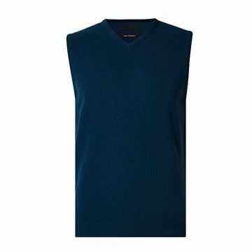 Teal Wool Sleeveless Sweater For Men