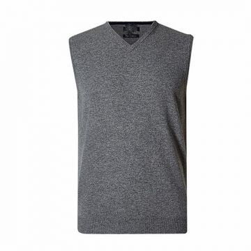 Gray Wool Sleeveless Sweater For Men