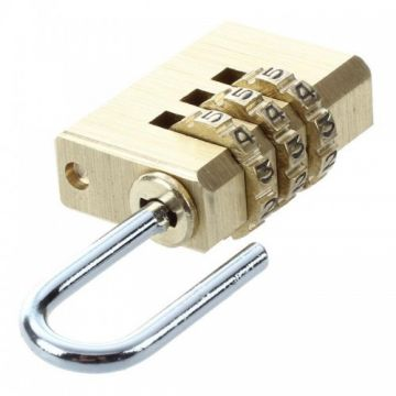 CH-05B - 3 Digit Re-settable Combination Luggage Suitcase Padlock - Golden