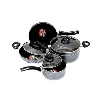 Non Stick Cookware Set - 7Pcs -  Silver and Black