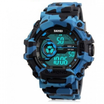SKMEI 1233 Men Sports Watch - BLUE CAMOUFLAGE
