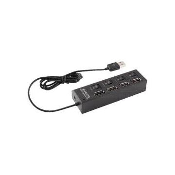 USB Hub 4 Port With Switch - Black