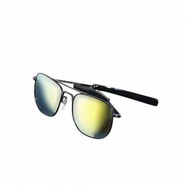 Black and Lemon Metal Sunglasses For Men
