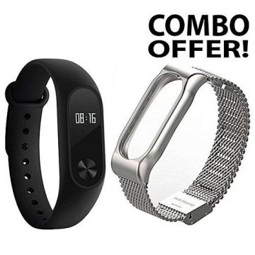 Mi Band 2 Smart Watch and Stainless Steel Strap MI Band 2