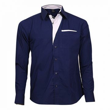 Navy Blue Cotton Casual Long Sleeve Shirt For Men