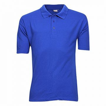 Blue Cotton Casual Short Sleeve Polo For Men