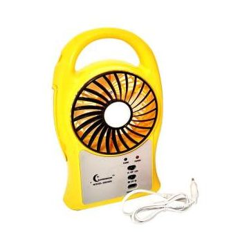 Portable Mini Fan with LED Light  - Yellow