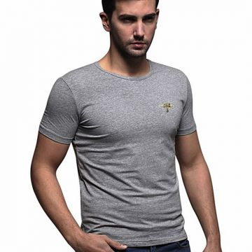 Gray cotton casual t shirt for men