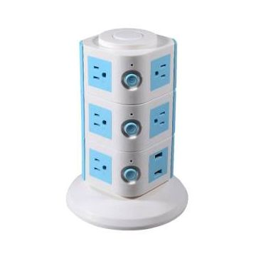 3 Layers with UK 12 Outlets and 6 USB Ports Smart Power Sockets -  White and Blue