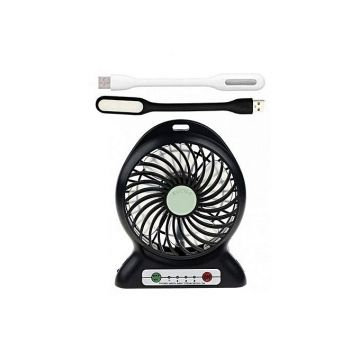 Sun Rechargeable Mini Fan with 2 Piece USB Light - Black and White