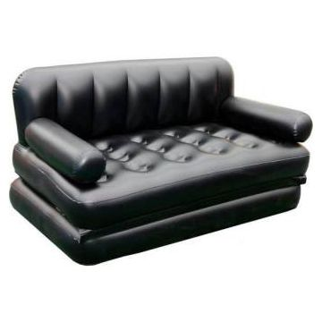 Portable Flocked PVC Inflatable Air Bed With Pumper  - Black