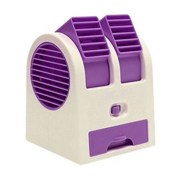 Air Conditioner Shaped Mini Double Cooler Fan & Fragrance - Violet