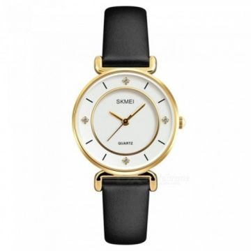 SKMEI 1330 30m Waterproof Leather Band Women's Quartz Watch
