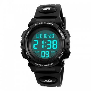 SKMEI 1266 Children Watch Outdoor Sport Fashion Multifunction Chronograph Waterproof Digital Watch - Black