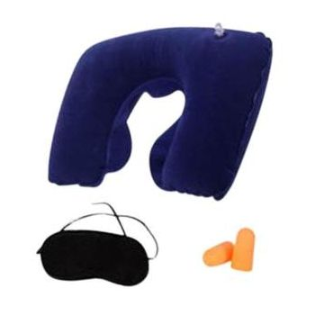 3 In 1 Travel Selection - Neck Pillow, Earplug, Eye Cover  - Navy Blue