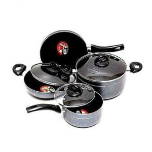 Non Stick 7 Pcs Cookware Set  - Black and Ash