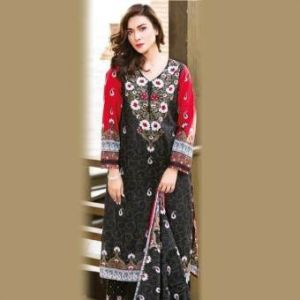 Multicolor Cotton Unstitched Pakistani Lawn for Women-DKF0155