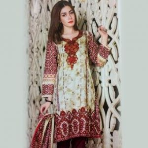 Multicolor Unstitched Pakistani Lawn For Women	DKF0156