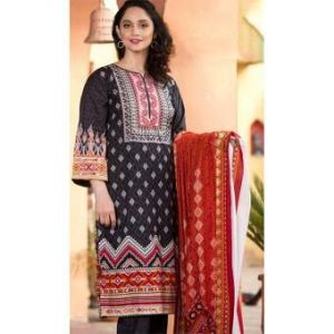 Multicolor Cotton Unstitched Digital Printed Lawn for Women-DKF0158