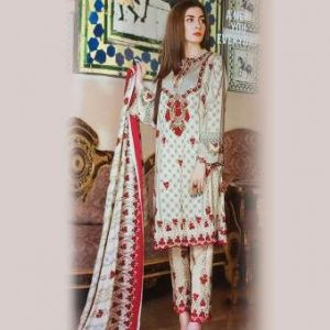 Multicolor Cotton Unstitched Pakistani Lawn For Women	DKF0162