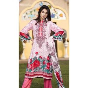 Multicolor Cotton Unstitched Digital Printed Lawn for Women-DKF0164