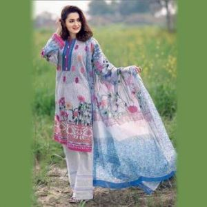 Multicolor Cotton Unstitched Pakistani Lawn for Women	DKF0168