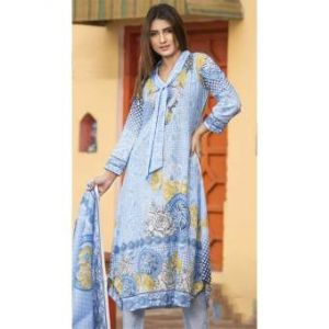 Multicolor Cotton Unstitched Digital Printed Lawn for Women	DKF0169