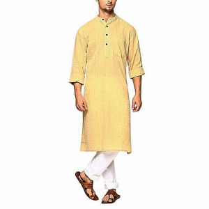 Yellow Cotton Panjabi for Men