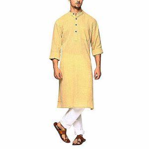 Yellow Cotton Panjabi for Men