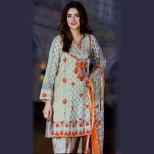 Multicolor Cotton Unstitched Pakistani Lawn For Women	DKF0180
