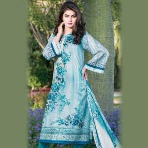 Multicolor Cotton Unstitched Pakistani Lawn For Women	DKF0185