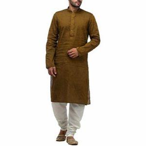 Golden olive Cotton Panjabi for Men