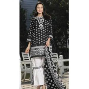 Black and White Cotton Unstitched Digital Printed Lawn for Women	DKF0188