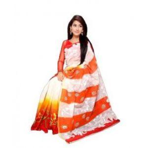 White and Orange Cotton Saree for Women