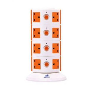 Power Extension Vertical Tower  Multi Switched Socket 16 - White and Orange