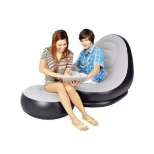 Flocked PVC Inflatable Sofa With  Foot Rest - Grey