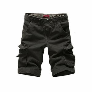 Black Cargo Casual Shorts For Men