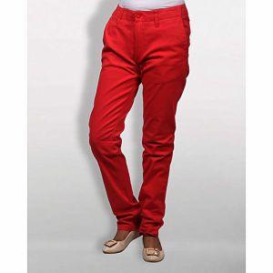Red Gabardine Pant for Women
