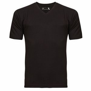 Black cotton casual v neck-t shirt