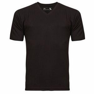 Black cotton casual v neck-t shirt