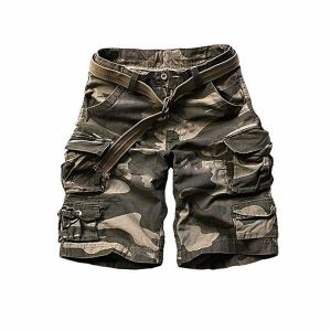 Army print cargo casual shorts for men