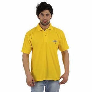Yellow pk casual polo for men