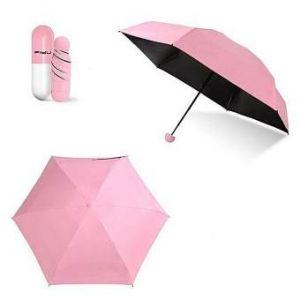 "Pink 7"" Mini Folding Umbrella with  Cute Capsule Case"