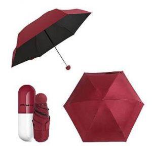 "Maroon 7"" Mini Folding Umbrella  with Cute Capsule Case"
