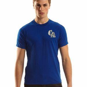 Blue cotton short sleeve t shirt for men