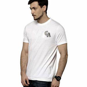 White cotton short sleeve t shirt for men