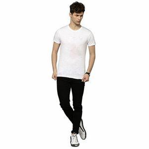 White pk casual short sleeve t shirt for men